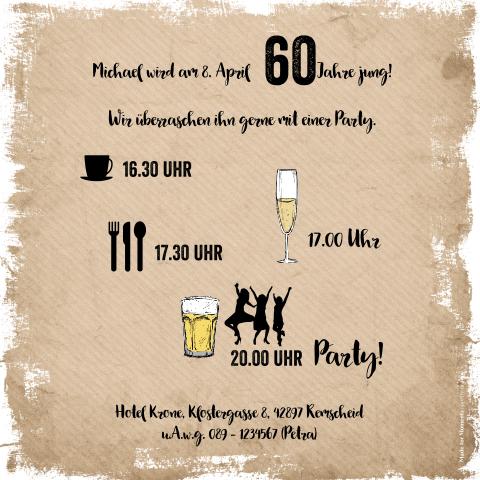 Humorvolle Einladung Zum 60 Geburtstag Mit Bierglas Und Foto