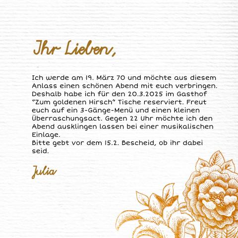 Klassische Einladung Mit Blumen