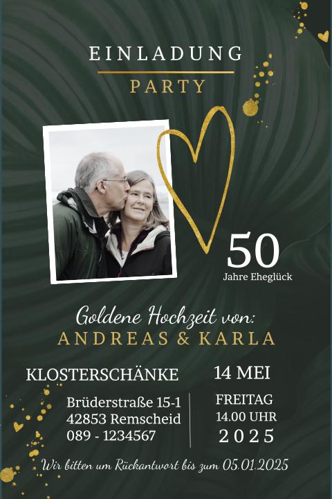 Einladung Zur Goldenen Hochzeit Mit Goldfarben Und Blättern
