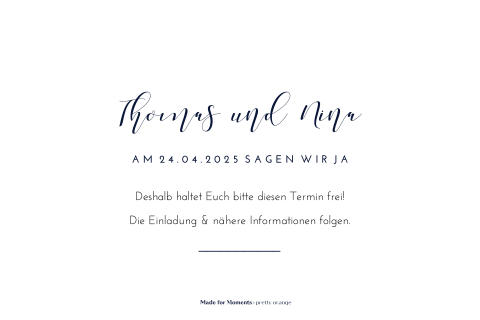 Elegante Save-the-Date Karte mit Foliendruck