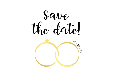 Coole Save the Date Karte mit Eheringen und Goldfolie