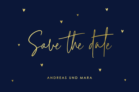 Elegante Karte mit Text Save the Date aus Foliendruck