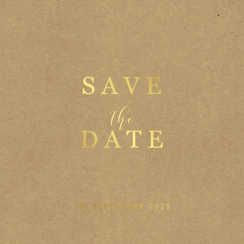 Quadratische Save-the-Date Karte mit Goldfolie