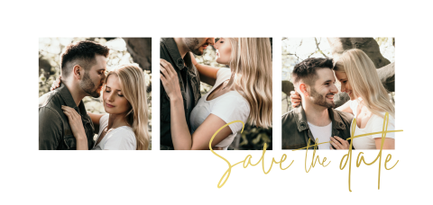Minimal Save-the-Date Karte mit Fotos und Goldfolie