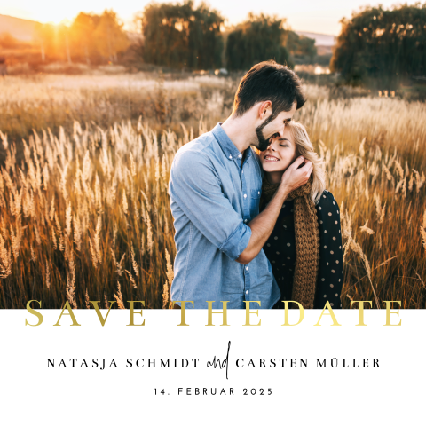 Save-the-Date Karte mit Foto und Goldfolie