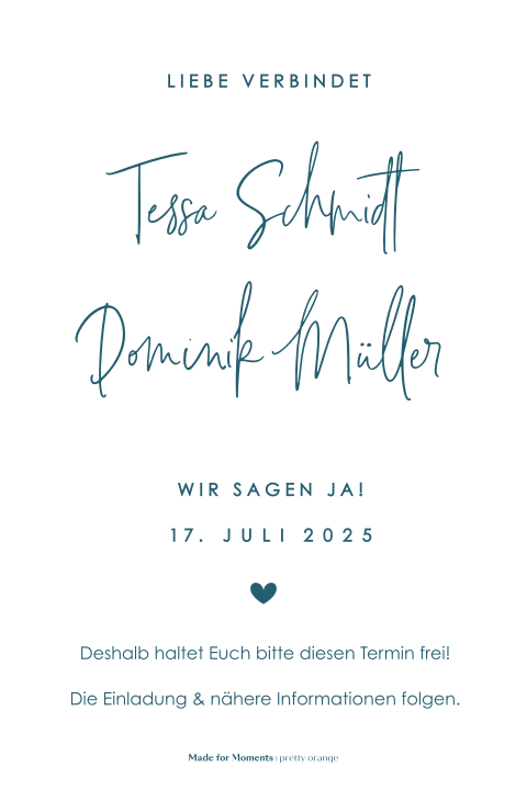 Save-the-Date Karte mit Goldfolie