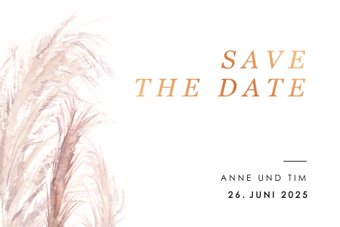 Elegante schlichte Save-the-Date Karte mit Foliendruck