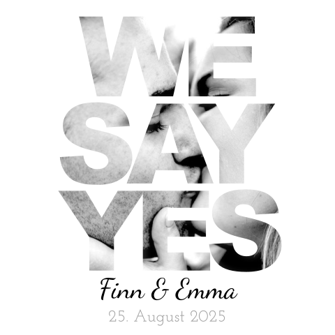Moderne Hochzeitskarte 'we say yes'.