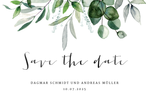 "Elegante Save-the-Date Karte ""Eukalyptus"""
