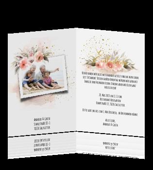 Einladung Zur Goldenen Hochzeit Im Rosa Aquarell Look Mit Blumen