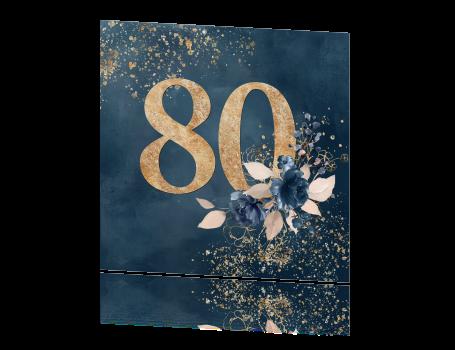 einladung 80. geburtstag mit goldgelben verzierungen und