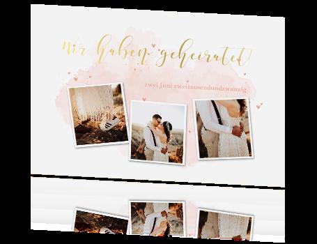 Wir haben geheiratet-Karte mit Goldfolie und romantischen